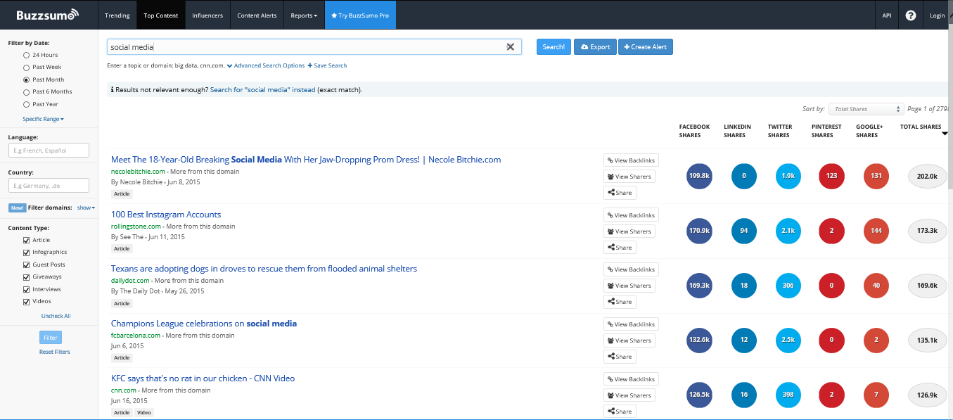 buzzsumo analyze popular content online