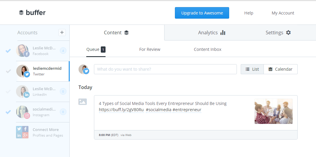buffer allows you to automate twitter for business